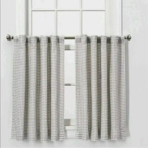 Honeycomb Weave cafe Curtain Panel set Gray